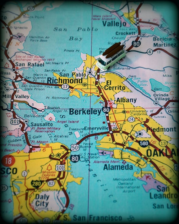 Berkeley University of California retro beach map print funky vintage  turquoise photo San Francisco College moving gift