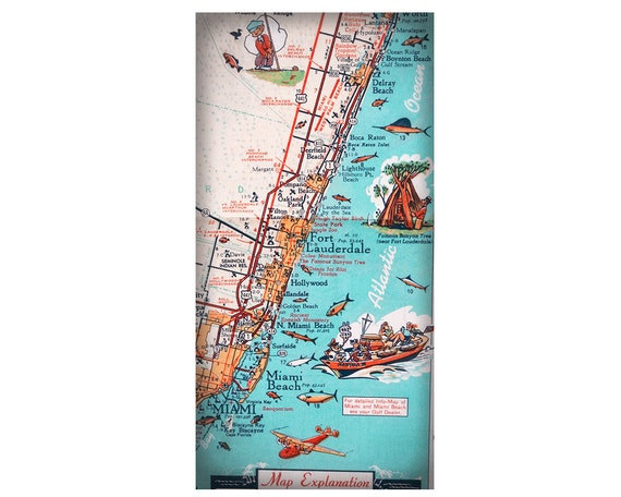 South Florida East Coast Map.South Florida Miami Fort Lauderdale Retro Beach Map Print Etsy