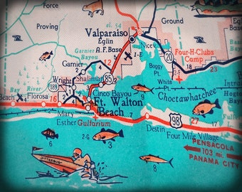 Florida Panhandle Fort Walton Beach Destin retro beach map print funky vintage turquoise photo