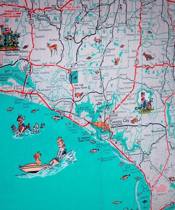 Panhandle Of Florida Map.Panama City St Joe Florida Panhandle Beach Retro Map Print Etsy