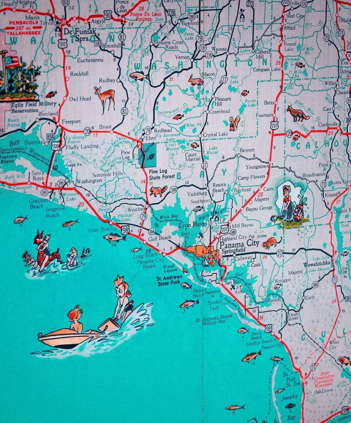 St Joe Florida Map.Panama City St Joe Florida Panhandle Beach Retro Map Print Etsy