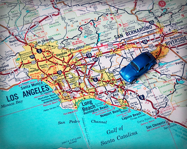 Los Angeles Long Beach Laguna retro beach map print funky vintage turquoise  photo of California Pacific coast Highway 1 retro car LA