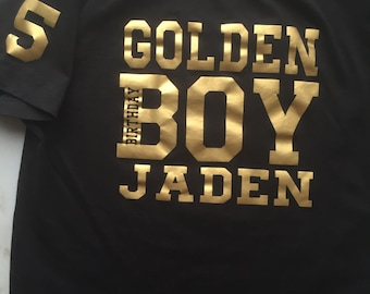 Golden Birthday Boy Shirt tshirt personalize with name & age