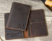 Engraved Passport Holder, Personalized Leather Passport Cover - 3rd Anniversary Gift for Husband or Wife, Custom Travel Wallet Sleeve