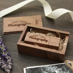 Thin Walnut Wood Box & USB Flash Drive Set Engraved - Personalized USB Thumb Drive - Custom Photography Wedding USB with Wood Wool Filler