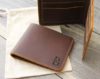 Personalized Wallet - CustomEngraved Leather Wallet - Monogram Name Wallet - Leather 3rd Anniversary Gift - Gift For Him