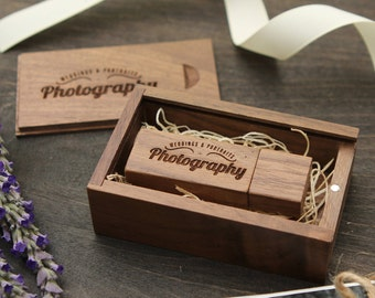 Engraved Walnut Wood Box & USB Flash Drive Set- Personalized USB Thumb Drive - Custom Photography Wedding USB Drive