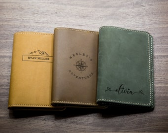 Engraved Passport Holder - Genuine Leather Travel Wallet Cover, Gift for Birthday Wedding Graduation Retirement, 3rd Leather Anniversary