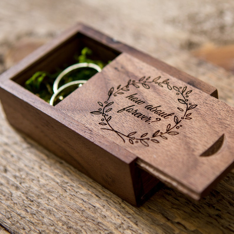 Wedding Ring Box.Engraved Wood Ring Box Ring Bearer Box Wedding Ring Box Rustic Proposal Engagement Ring Box In Maple Or Walnut Wood