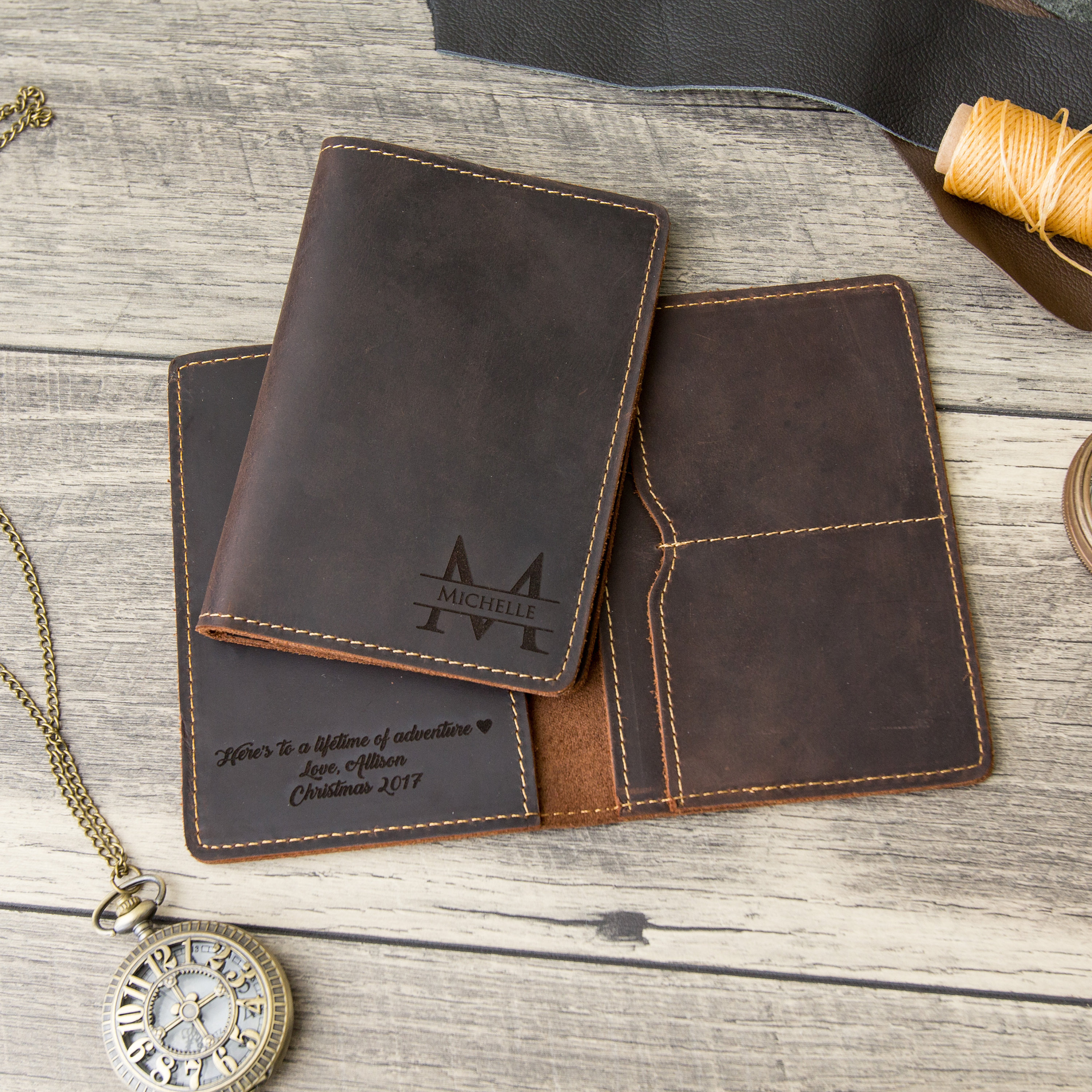 4cacb82e7343 Engraved Passport Holder, Personalized Leather Passport Cover - 3rd  Anniversary Gift for Husband or Wife, Custom Travel Wallet Sleeve
