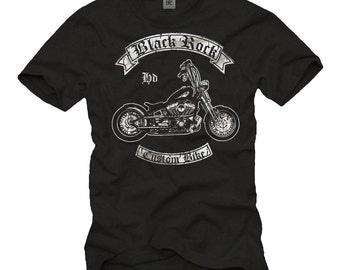 92973c424 Cool Biker T-Shirt for Men with BLACK ROCK Custom Bike Print black white  S-XXXL