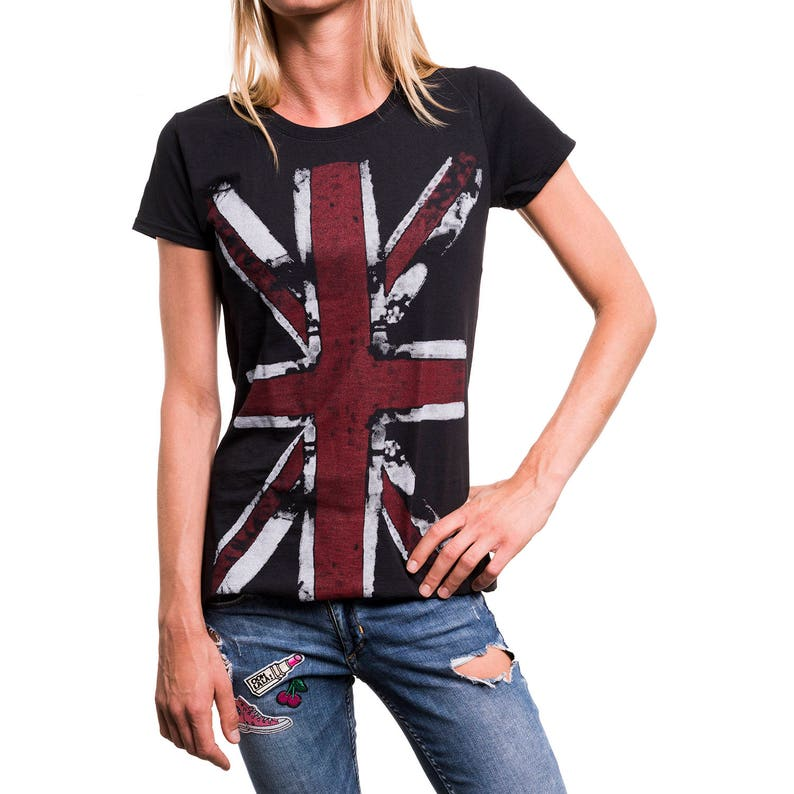 46e7c9666 Womens Union Jack Tshirt England Flag UK Top Band Tee | Etsy