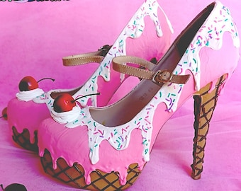ice cream cupcake custom made heels shoes one of the kind, Pastel Goth, Fairy Kei, Kawaii,cute,harajuku, alternative