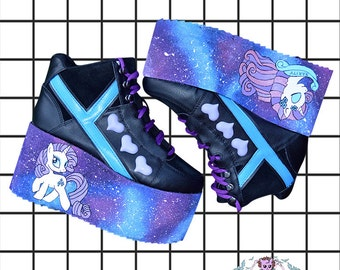 d8a37e1548a4 Hand painted YRU galaxy my little pony rarity inspired platform flatform  shoes made to order fairy kei pastel goth