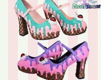 b4e3633b90c Pleaser demonia dolly50 style LARGE sizes! drippy icecream custom made heels  shoes