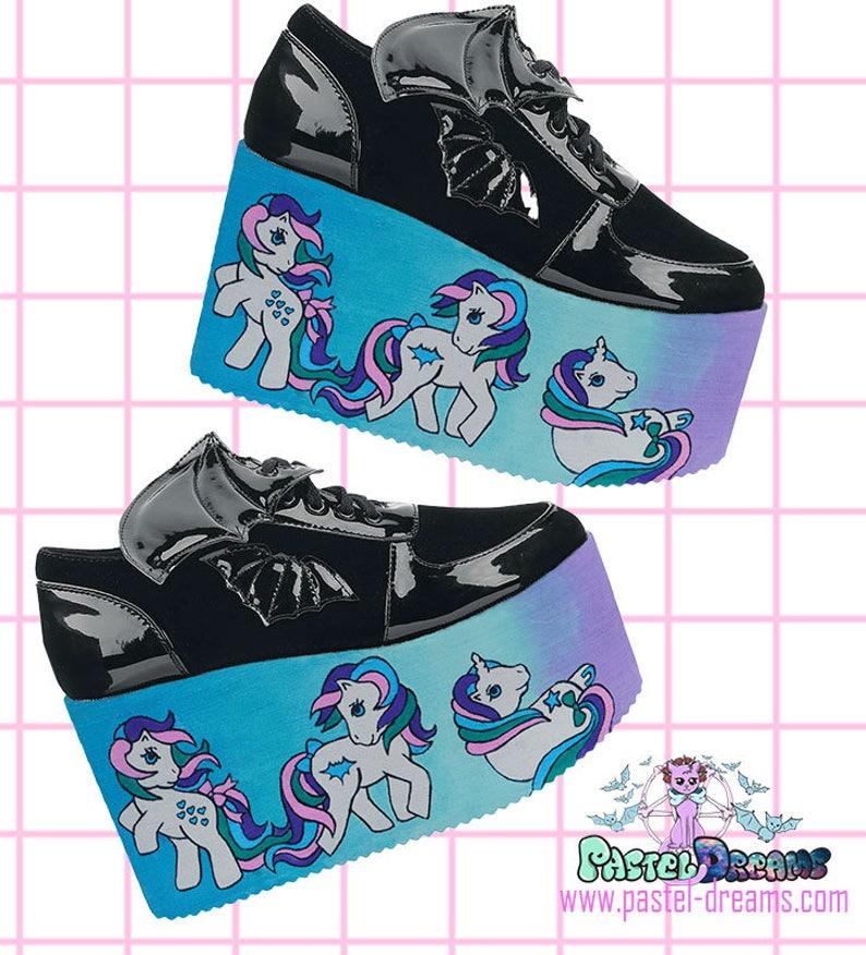 2a1cab244686 Hand painted YRU little pony inspired platform flatform shoes