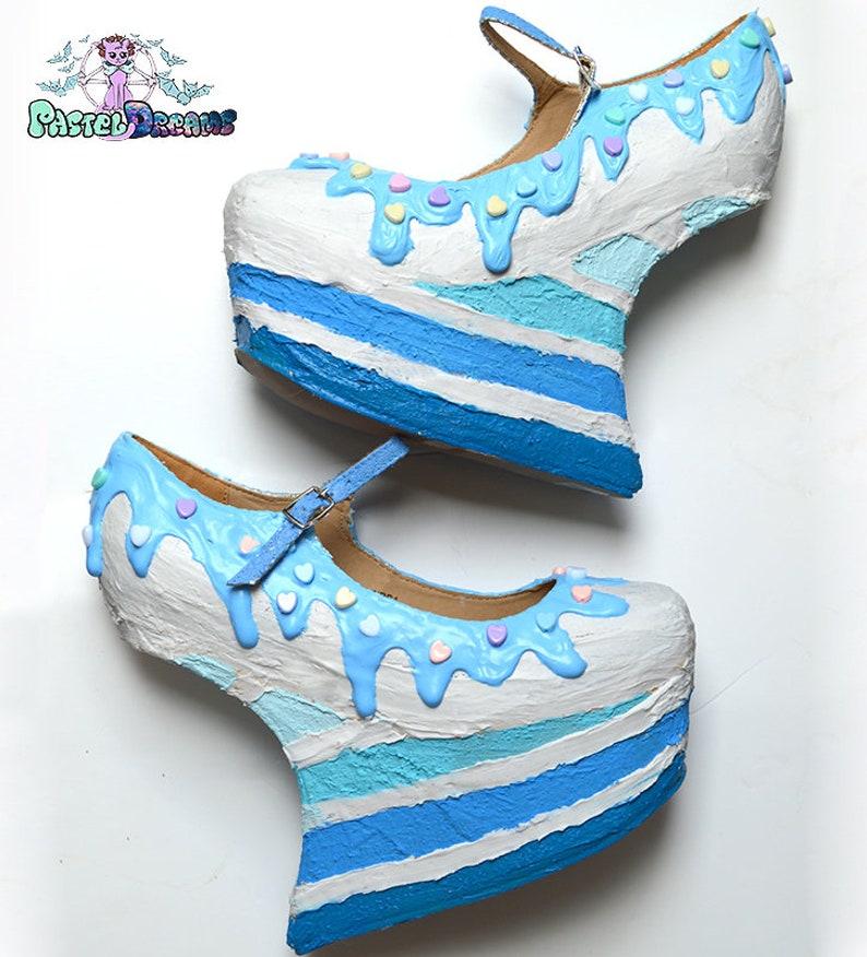 5bad99dcf0ff8 Blue rainbow custom made heelless heels shoes one of the kind, Pastel Goth,  Fairy Kei, Kawaii,cute,harajuku, alternative,bridal