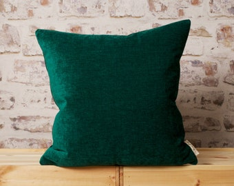 Emerald Green Cushion Cover, Solid Green Pillow Cover, Green chenille Pillow, Green Modern Cushion Cover, 18 x 18, 20 x 20, 22 x 22 Inch