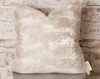 Natural Beige Burnout Effect Chenille Cushion Cover, Natural Pillow Cover, Modern, 18 x 18 Inch