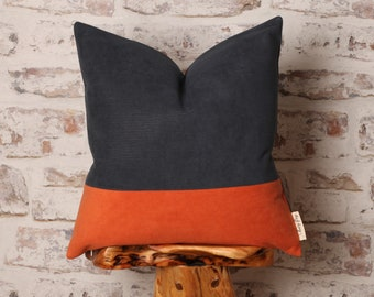 Navy and Burnt Orange Corduroy Cushion Cover, Corduroy Pillow Cover, Colour Block, 18 x 18 Inch, 20 x 20 Inch, 22 x 22 Inch Cover