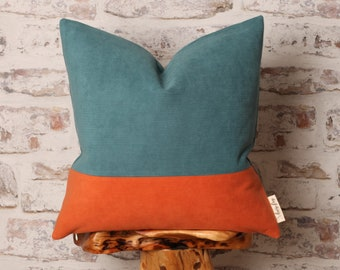 Teal and Burnt Orange Corduroy Cushion Cover, Corduroy Pillow Cover, Colour Block, 18 x 18 Inch, 20 x 20 Inch, 22 x 22 Inch Cover