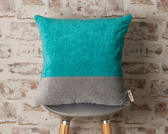Aquamarine Blue and Steel Grey Chenille Cushion Cover, Grey and Aqua Blue Pillow, Striped Pillow, 18 x 18, 20 x 20, 22 x 22 Inch Cover