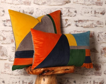 Bauhaus Inspired Square & Rectangle Cushion Cover, Mid Century Modern Geometric Detail, 18 x 18, 12 x 20 Inch Cover