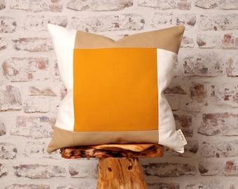 Bauhaus Inspired Mustard Colour Block, Natural & White Cushion Cover, Mid  Century Modern Geometric Detail, 18 x 18 Inch