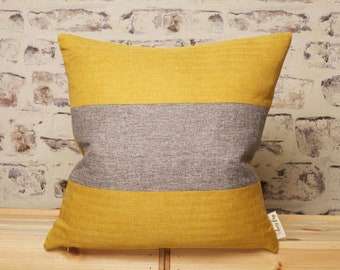 Mustard Gold Grey striped cushion cover, Grey Mustard, Grey Mustard, Mustard Grey pillow, 18 x 18 Inch, 20 x 20, 22 x 22 Inch Cover