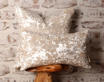 Pearl White Crushed Velvet Cushion Covers, Pearlescent Pillow, Colour Block, 18 x 18 Inch, 12 x 20 Inch, 20 x 20 Inch 22 x 22 Inch