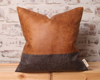 Saddle Brown & Steel Grey Antique Faux Leather Colour Block, Modern, 18 x 18 Inch, 20 x 20 Inch, 22 x 22 Inch Cover