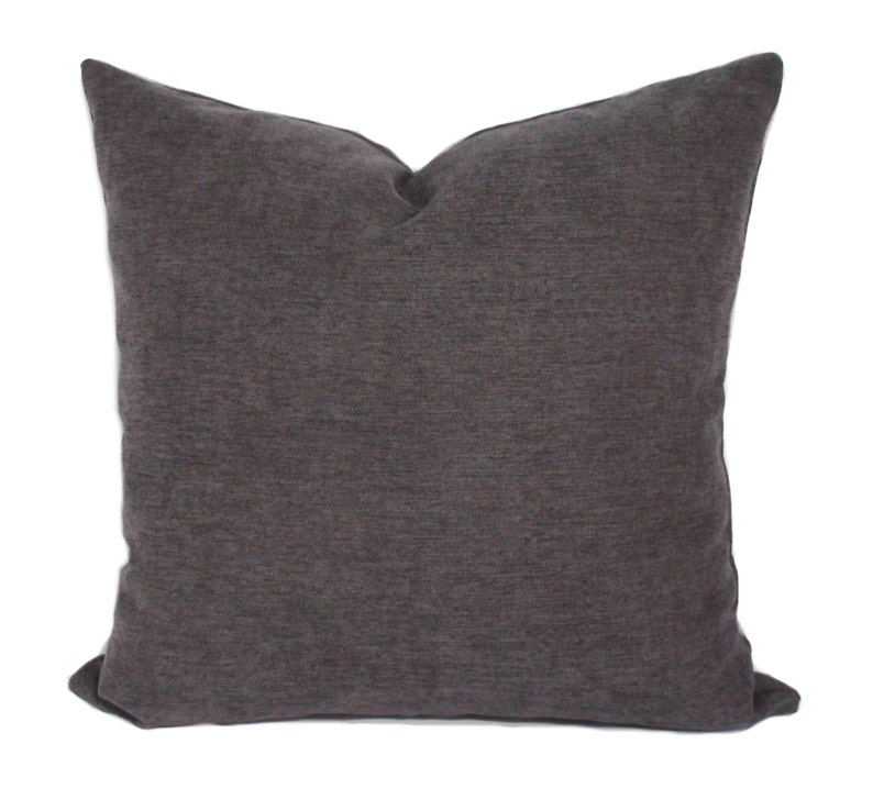 Solid gray decorative throw pillow cover with zipper Gray image 0