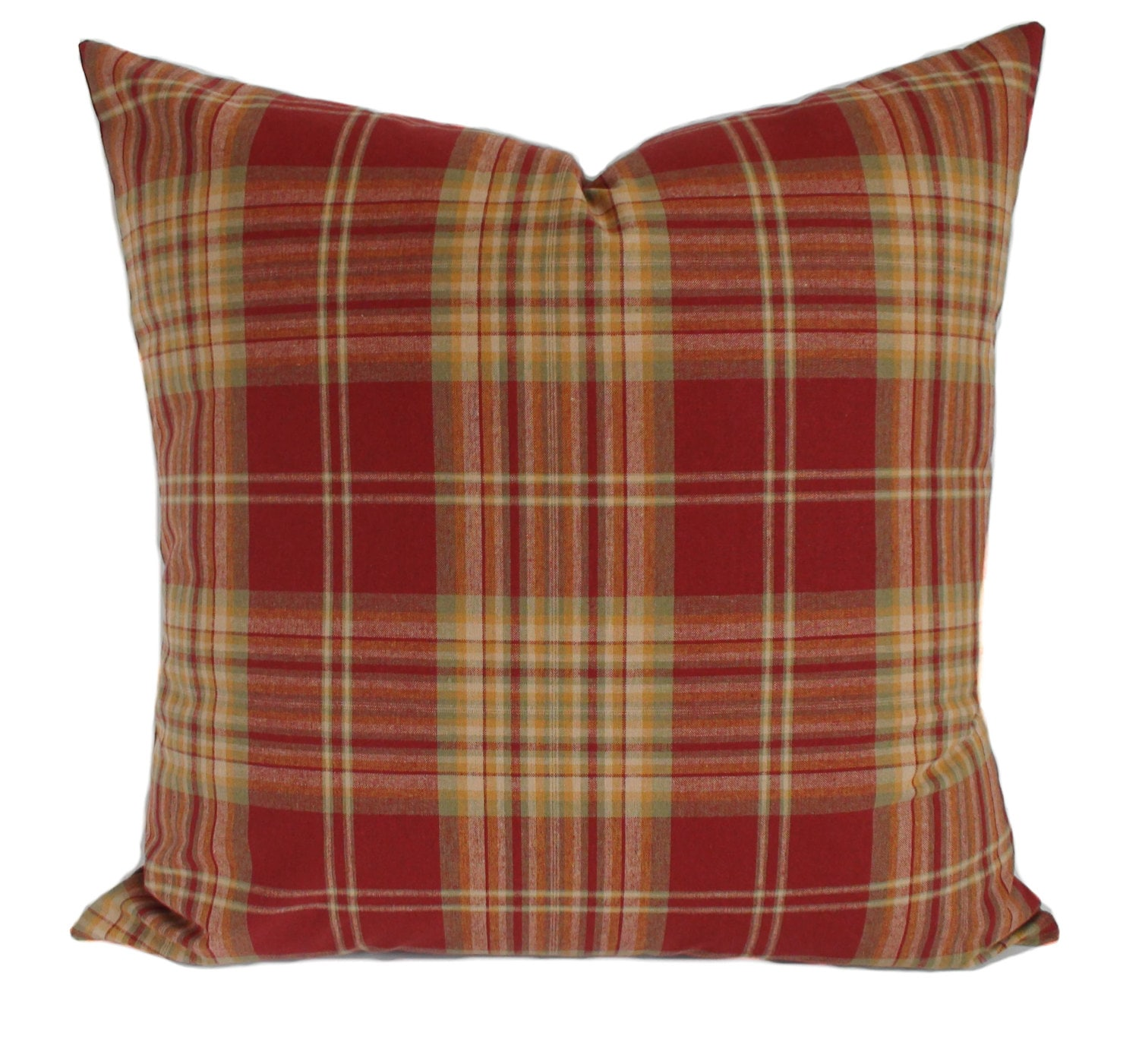 Plaid Pillow Cover Throw Pillow Red Decorative Pillow Red