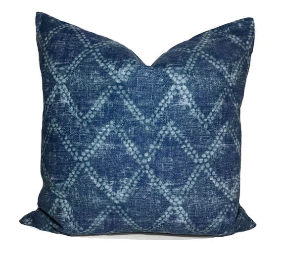 Indigo Blue Pillow Cover 40x40 Blue Throw Pillow Indigo Etsy Extraordinary Etsy Pillow Covers 20x20