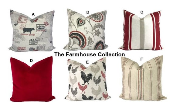 Farmhouse Pillow Covers Throw Pillows Decorative Pillows Etsy Enchanting Red Decorative Pillows For Bed