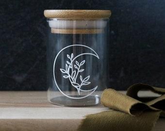 floral moon stash jar SHORTY | stash jar container | stash box | cannabis jar | cbd jar | weed jar | marijuana jar | cbd holder | witch