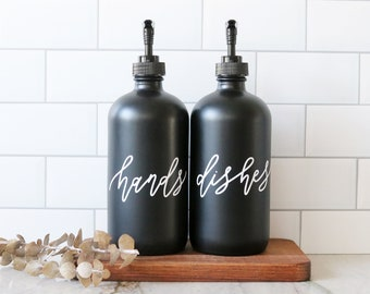 HANDS + DISHES | calligraphy black glass soap dispenser set | farmhouse kitchen | modern kitchen | industrial kitchen | kitchen decor
