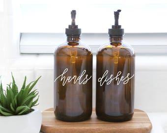 HANDS + DISHES | calligraphy amber soap dispenser set | farmhouse kitchen | modern kitchen | industrial kitchen | kitchen decor