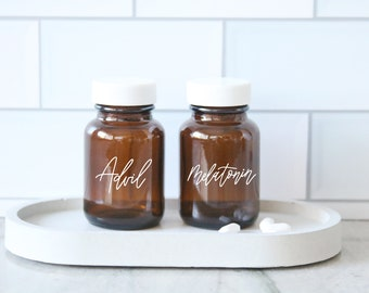 custom calligraphy MINI amber glass pill bottle | custom organization | medicine cabinet | medicine label organization | farmhouse | vitamin