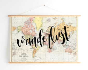 hand lettered calligraphy map: wanderlust | adventure awaits | our adventure begins
