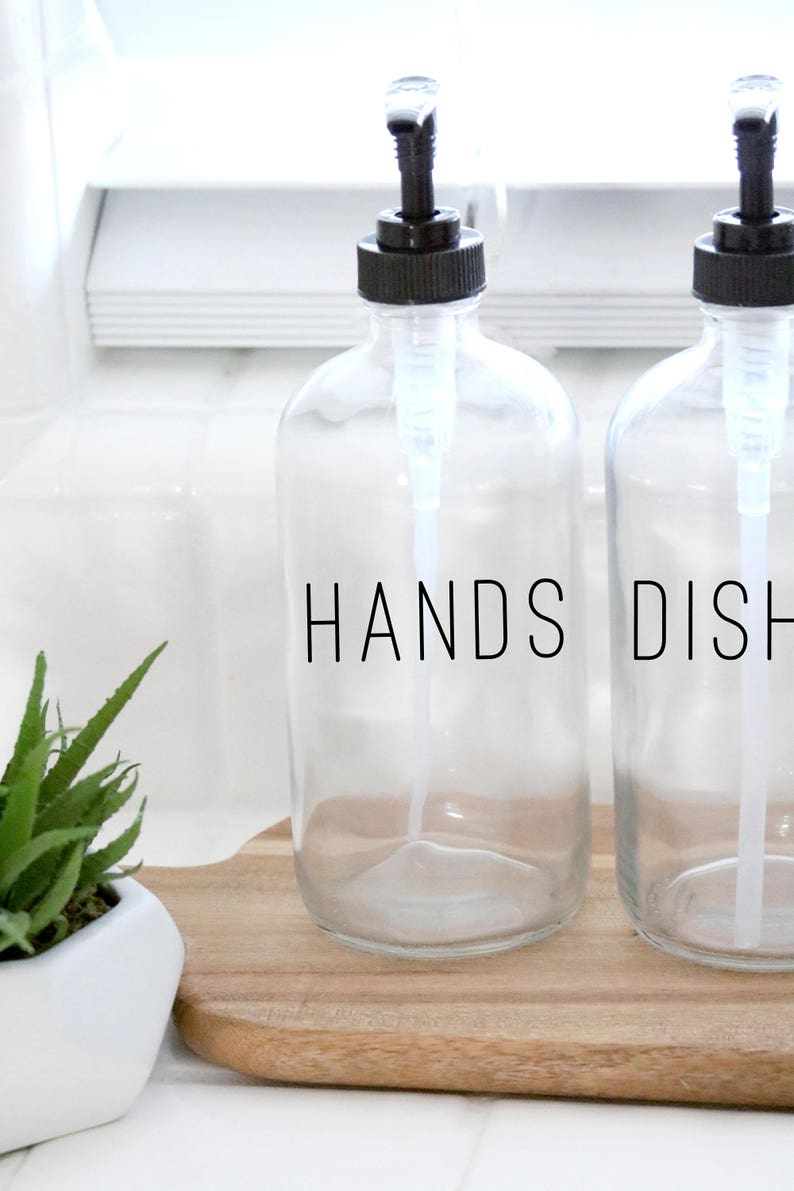 HANDS + DISHES | calligraphy clear soap dispenser set | farmhouse kitchen | modern kitchen | industrial kitchen | kitchen decor