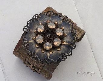 Fire Blossom Cuff, statement cuff, vintage style cuff, 1950s brass flower, vintage rhinestones, one-of-a-kind, mystical blossom, mawjanga