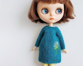 8d7db0cd27f Blythe tricoté robe turquoise (Licca Pullip) poupée 1 6