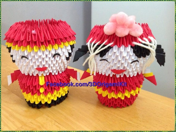 3d Origami Chinese Groom And Bride Origami Chinese Paper Etsy