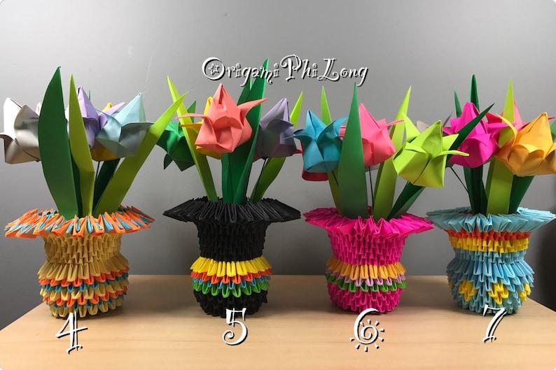Tulips Vase 3d Origami Paper Flowers Vase Home Decoration