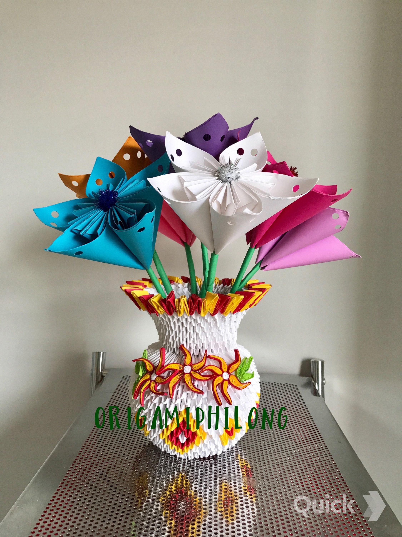 How To Make 3D Origami Flower Vase V10 | DIY Paper Flower Vase ... | 3000x2250
