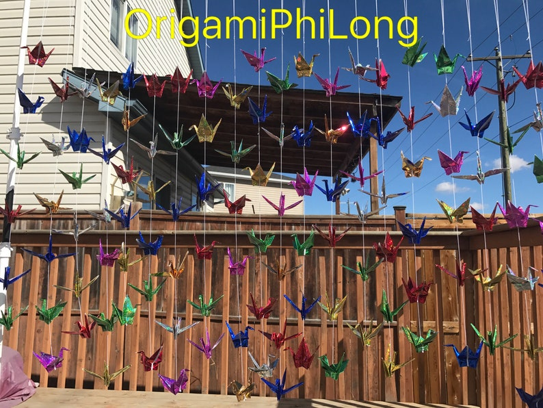 6 Strands Set Of 6 Cranes Garland Paper Cranes On String Free Shipping Origami Cranes