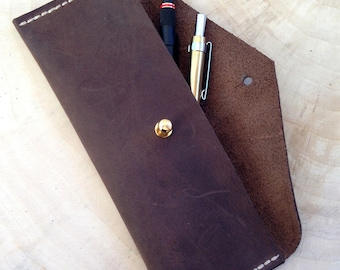 Leather pen Pouch Case Brown