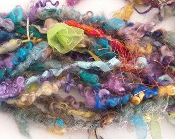 "Handspun Bulky Corespun Specialty Art Yarn -- ""Special Bouquet""  Ribbons, Flowers, Locks, Threads"