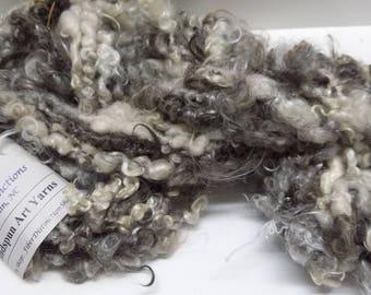 "Handspun Bulky Corespun Art Yarn ""Smoky"" -  Gray, Black, White -  Mohair Locks, Silk"